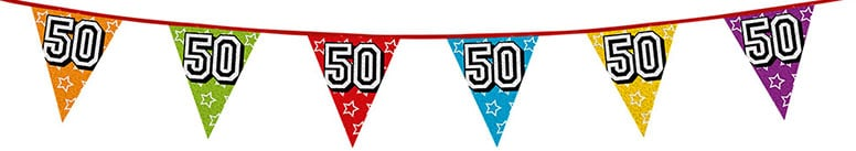 Age 50 Holographic Foil Pennant Bunting 8m