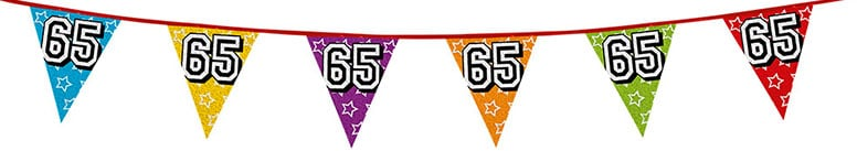 Age 65 Holographic Foil Pennant Bunting 8m