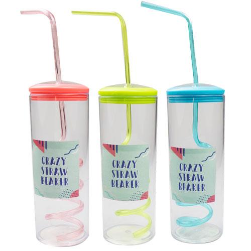 Assorted Plastic Crazy Straw Beaker 300ml