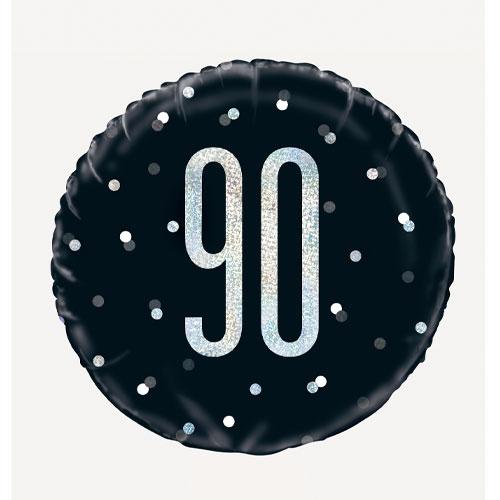 Black Glitz Age 90 Holographic Round Foil Helium Balloon 46cm / 18 in