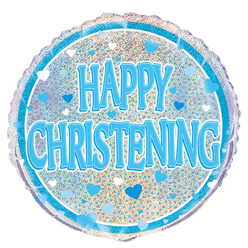 Blue Christening Holographic Round Foil Helium Balloon 46cm / 18 in