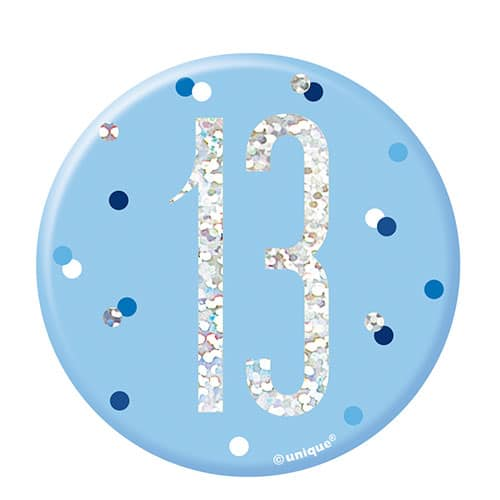 Blue Glitz Age 13 Holographic Birthday Badge 7cm