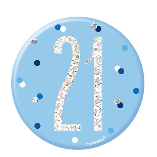 Blue Glitz Age 21 Holographic Birthday Badge 7cm