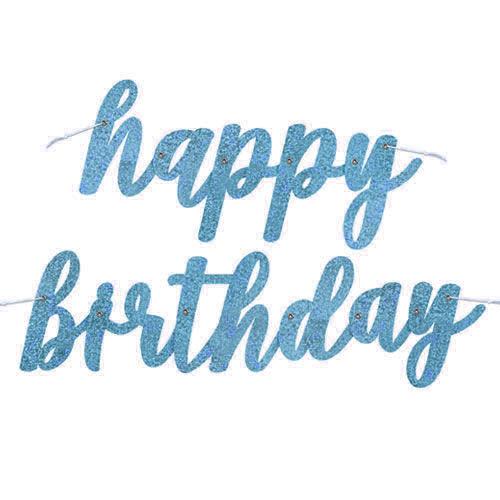Blue Script Happy Birthday Holographic Foil Cardboard Letter Banner 84cm