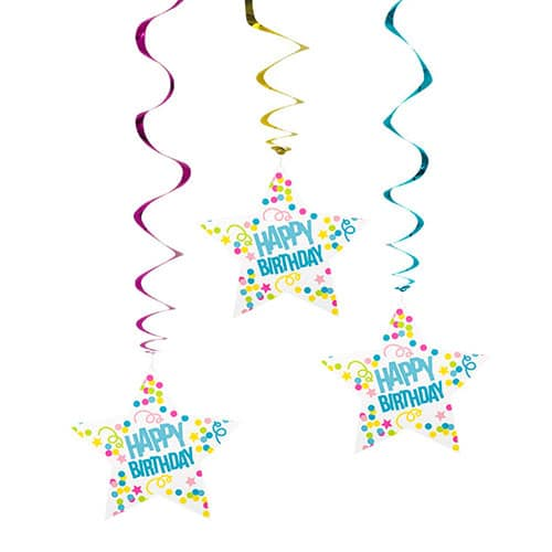 Happy Birthday Swirl Hanging Decorations 85cm - Pack of 3