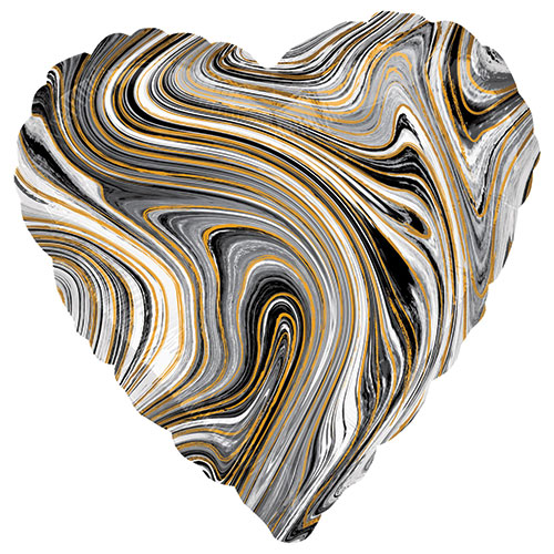 Marblez Black Heart Shape Foil Helium Balloon 43cm / 17 in