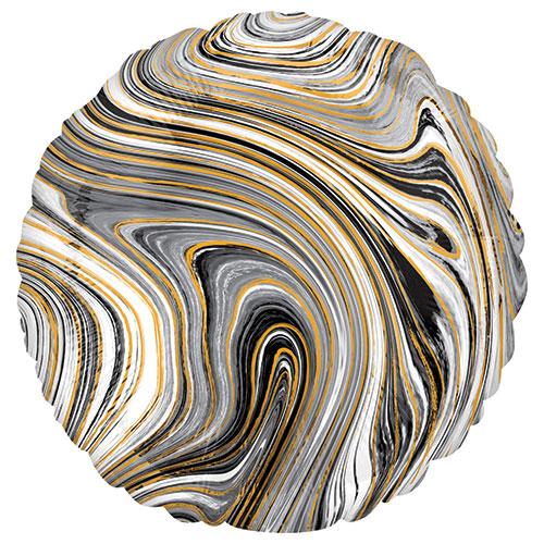Marblez Black Round Foil Helium Balloon 43cm / 17 in