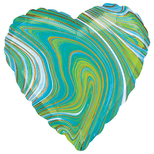 Marblez Blue Green Heart Shape Foil Helium Balloon 43cm / 17 in