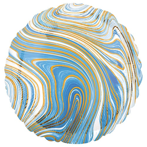 Marblez Blue Round Foil Helium Balloon 43cm / 17 in