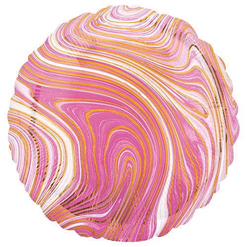 Marblez Pink Round Foil Helium Balloon 43cm / 17 in