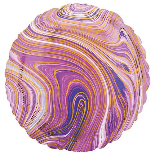 Marblez Purple Round Foil Helium Balloon 43cm / 17 in