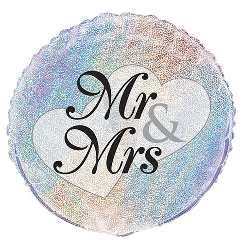 Mr & Mrs Holographic Wedding Round Foil Helium Balloon 46cm / 18 in