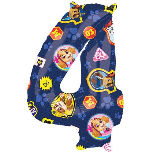 Paw Patrol Number 4 Helium Foil Giant Balloon 66cm / 26 in