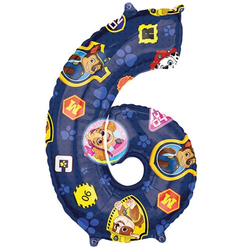 Paw Patrol Number 6 Helium Foil Giant Balloon 66cm / 26 in
