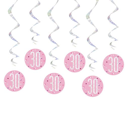 Pink Glitz Age 30 Holographic Hanging Swirl Decorations - Pack of 6
