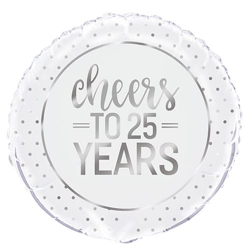 Silver Anniversary Cheers to 25 Years Round Foil Helium Balloon 46cm / 18 in
