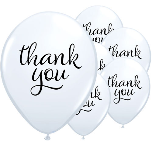 Simply Thank You Assorted Latex Helium Qualatex Balloons 28cm / 11 in - Pack of 25