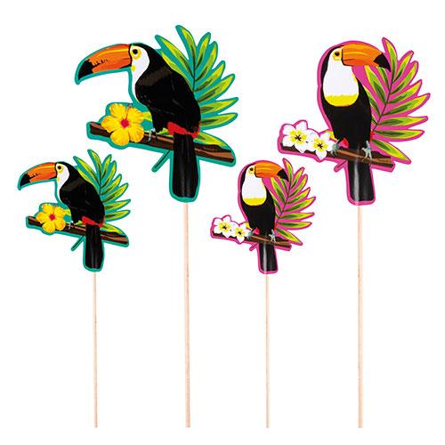 Toucan Hawaiian Cocktail Sticks - Pack of 4