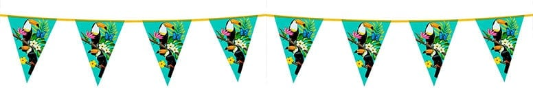 Toucan Hawaiian Plastic Pennant Bunting 6m
