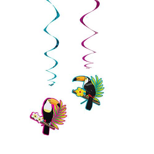 Toucan Hawaiian Swirl Decorations 85cm - Pack of 2