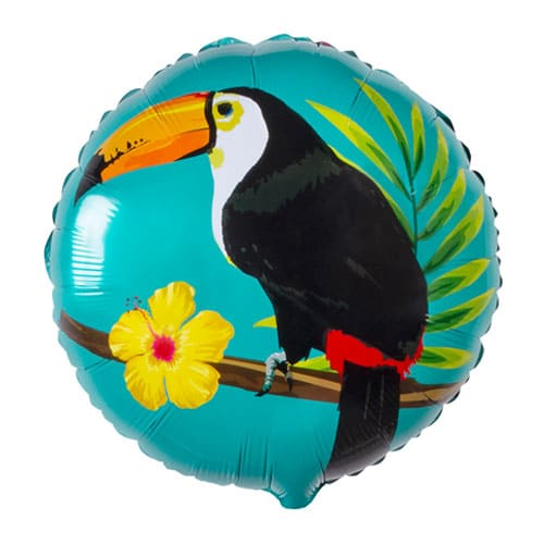 Toucan Hawaiian Two-Sided Round Foil Helium Balloon 45cm / 18 in Product Gallery Image