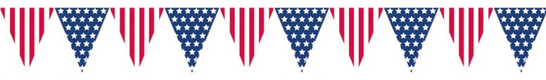 USA Flag Plastic Pennant Bunting 3.65m