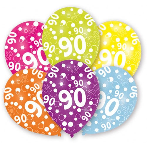 90th Birthday Assorted Latex Balloons 28cm / 11 in - Pack of 6