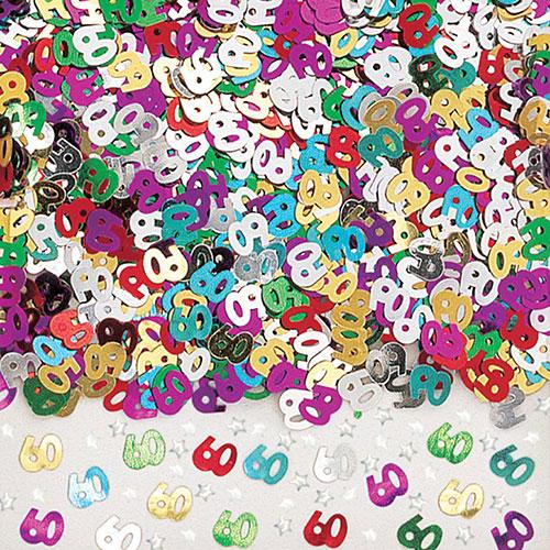 Age 60 Metallic Assorted Table Confetti 14 Grams