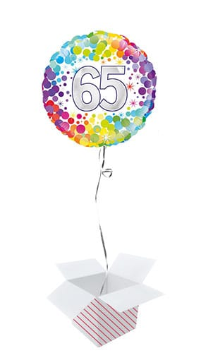 Age 65 Colourful Confetti Round Foil Helium Balloon - Inflated Balloon in a Box