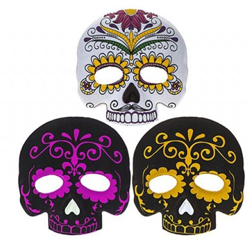 Assorted Halloween Day Of The Dead Half Face Moulded Felt Mask