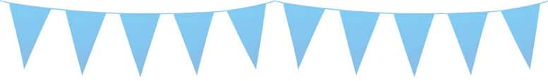 Baby Blue Plastic Pennant Bunting 10m