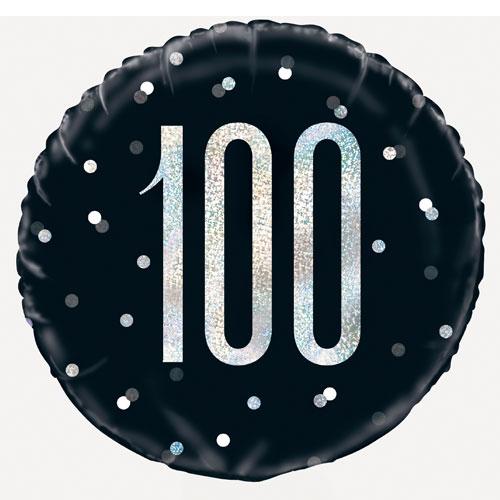 Black Glitz Age 100 Holographic Round Foil Helium Balloon 46cm / 18 in