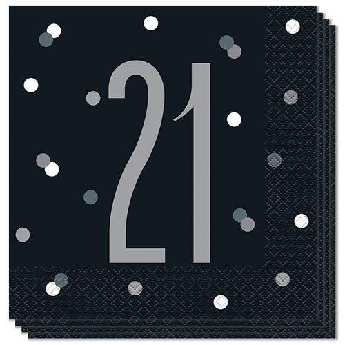 Black Glitz Age 21 Luncheon Napkins 33cm 2Ply - Pack of 16