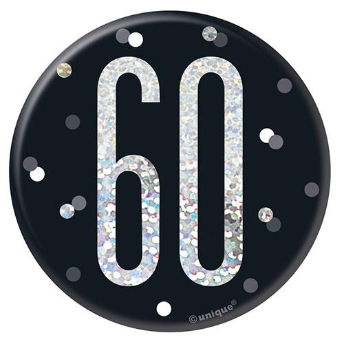 Black Glitz Age 60 Holographic Birthday Badge 7cm