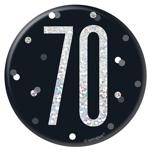 Black Glitz Age 70 Holographic Birthday Badge 7cm
