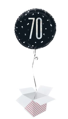 Black Glitz Age 70 Holographic Round Foil Helium Balloon - Inflated Balloon in a Box