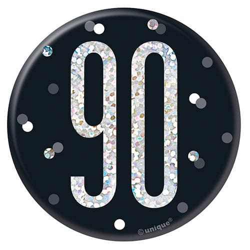 Black Glitz Age 90 Holographic Birthday Badge 7cm