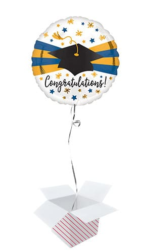 Blue & Gold Congratulations Graduation Cap Round Foil Helium Balloon - Inflated Balloon in a Box
