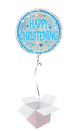 Blue Christening Holographic Round Foil Helium Balloon - Inflated Balloon in a Box