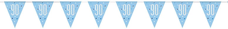 Blue Glitz Age 90 Holographic Foil Pennant Bunting 274cm