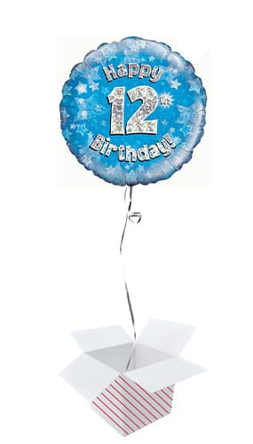 Blue Happy 12th Birthday Holographic Round Foil Helium Balloon - Inflated Balloon in a Box