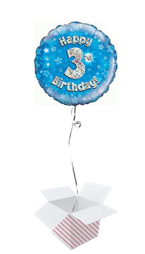 Blue Happy 3rd Birthday Holographic Round Foil Helium Balloon - Inflated Balloon in a Box