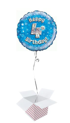 Blue Happy 4th Birthday Holographic Round Foil Helium Balloon - Inflated Balloon in a Box