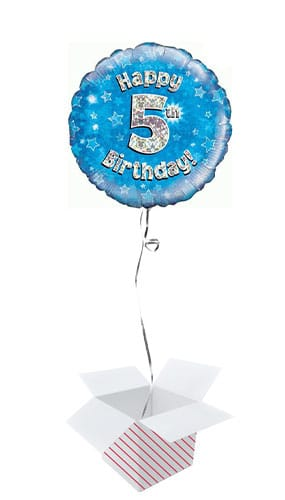 Blue Happy 5th Birthday Holographic Round Foil Helium Balloon - Inflated Balloon in a Box