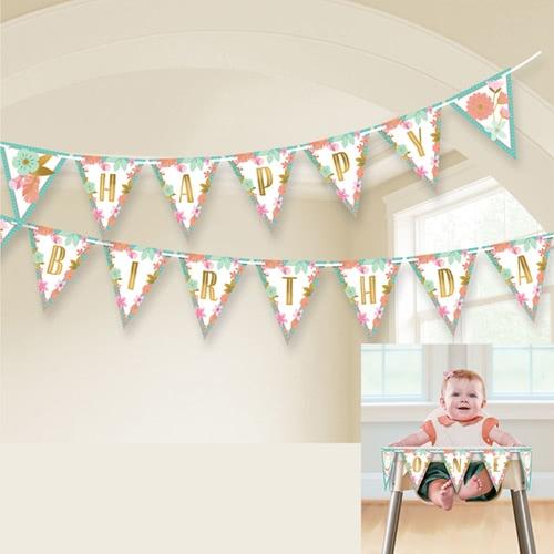 Boho Birthday Girl Paper Pennant Bunting 4.57m
