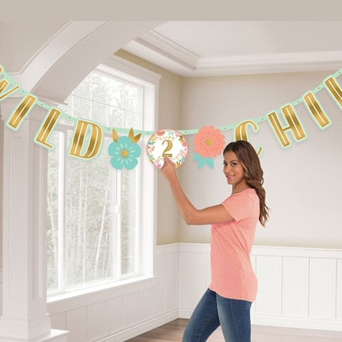 Boho Birthday Girl Wild Child Jumbo Add-An-Age Letter Banner 3.2m