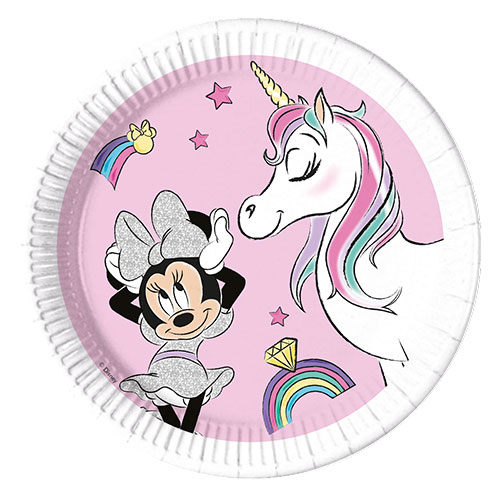 Compostable Disney Minnie Mouse Unicorn Dreams Round Paper Plates 23cm - Pack of 8