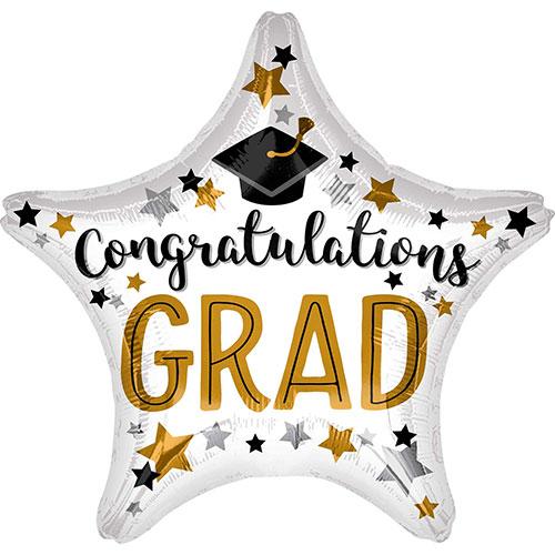 Congratulations Grad Star Foil Helium Balloon 48cm / 19 in