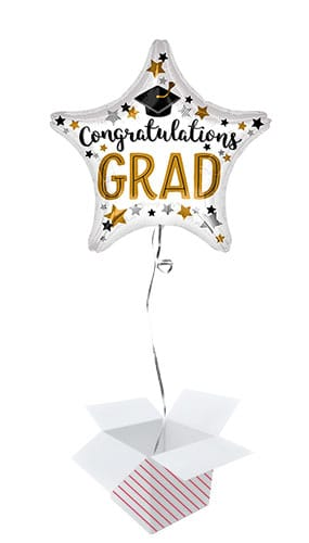 Congratulations Grad Star Foil Helium Balloon - Inflated Balloon in a Box
