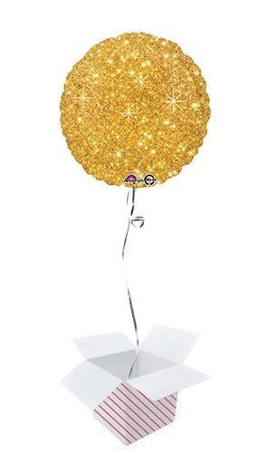 Faux Sparkle Gold Round Foil Helium Balloon - Inflated Balloon in a Box